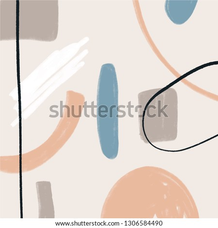 Vector illustration. Mid century modern abstract art. Nordic interior design. Poster and print, scandinavian style