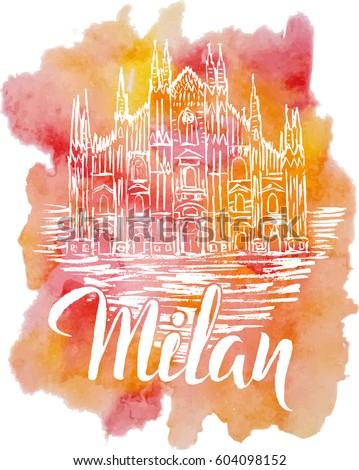 vector illustration milan label