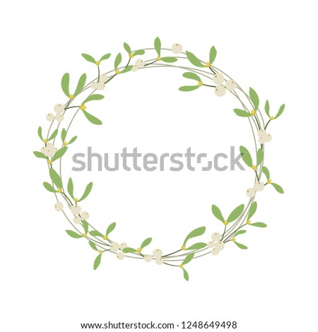 Vector illustration. Mistletoe wreath isolated on white background