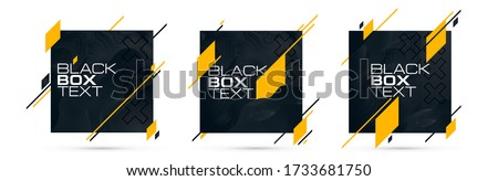 vector illustration. modern frame for text, black and white box for text with elements of yellow or gold. graphic design for headlines, booklets, flyers, cards, and covers.