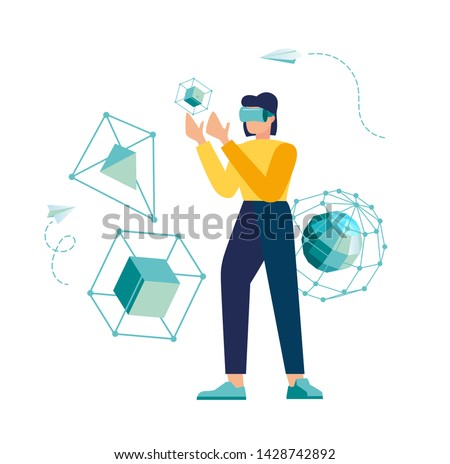 vector illustration. modern innovative business technologies. corporate meetings with use glasses of veritable and additional reality. communication in art reality galagram. unusual