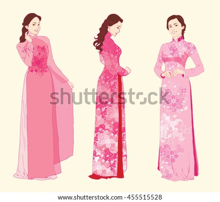 Vector Ao dai. Vietnamese Long dress. Asian conical hat. Traditional ...