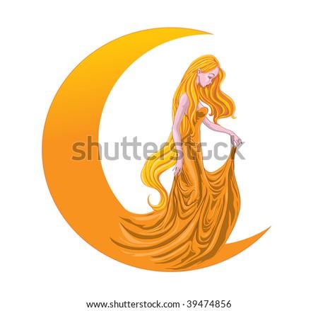 vector illustration  moon lady