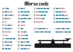 Vector illustration. Morse code and silhouette morse key.