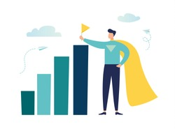 Vector illustration, move up motivation, the way to achieve the goal, the superhero puts the flag on the last scale