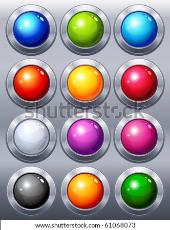 Vector illustration - 12 multi-coloured  web buttons