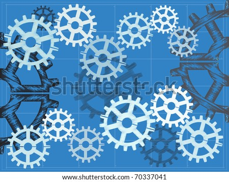 vector illustration Multiple gears on blueprint grid sketch hand draw style editable vector illustration