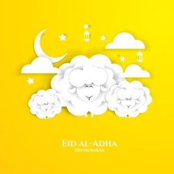vector illustration. Muslim holiday Eid al-Adha. the sacrifice a ram or white and black sheep.