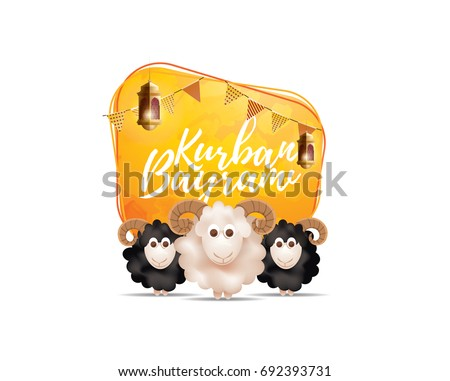 vector illustration. Muslim holiday Kurban Bayrami. sacrifice a ram or white and black sheep. graphic design decoration of flyers, posters, .month lamb and lamp.Translation from Turkish: Eid al-Adha