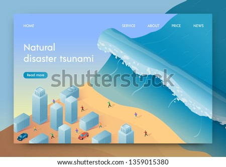 Vector Illustration Natural Disaster Tsunami. High Wave is Approaching Big City. People are Fleeing From Natural Disaster. Coastal City Disaster. Life Insurance against Natural Disasters.