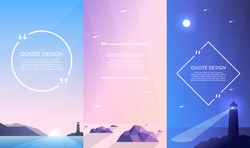Vector illustration. Nature concept. Design for flyers, posters, social media stories with quote box. Flat landscape. Lighthouse near sea, low poly style rocks in water, night scene with moon light.