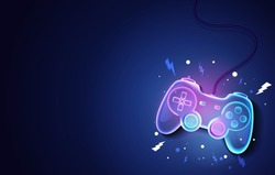 Vector Illustration Neon Future Game Pad Background.