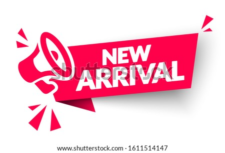 Vector Illustration New Arrival Sticker, Tag Or Banner With Megaphone Stok fotoğraf ©
