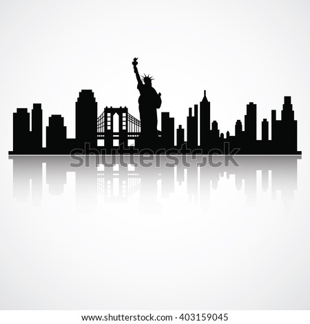 Vector Illustration : New York Skyline Silhouette
