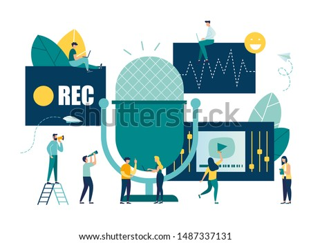vector illustration, news, interviews, music, voice acting, sound recording on the radio into a microphone, teamwork