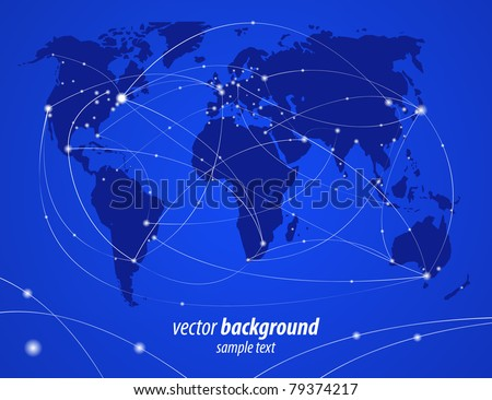 Vector illustration night travel world map