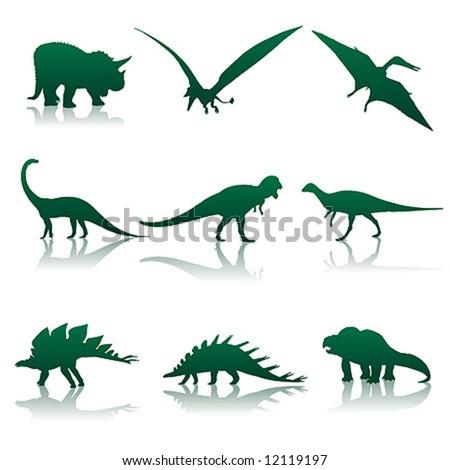 Vector illustration. Nine silhouettes of dinosaurs.