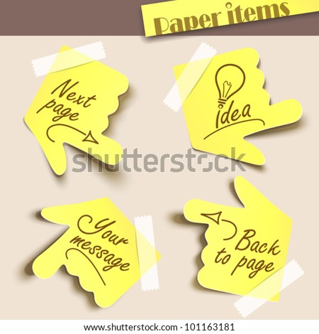 Vector illustration note paper. Message label
