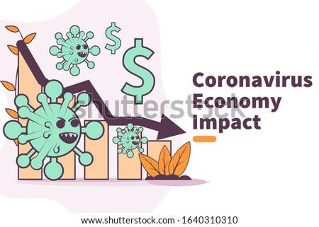 vector illustration novel coronavirus 2019-nCoV impact global economy. corona virus make down economy. country economic impact novel coronavirus. chart economy down. wuhan corona virus business down.