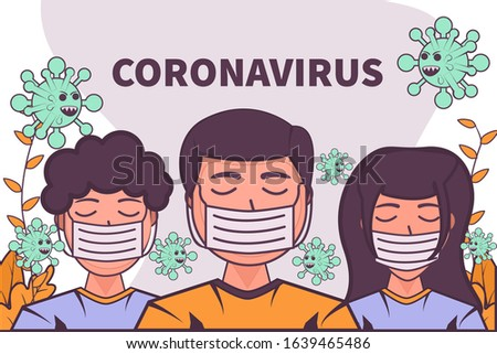 vector illustration novel coronavirus 2019-nCoV.  wuhan virus china. people wearing face mask. corona virus quarantine. coronavirus outbreak concept. coronavirus attack concept. people defend virus.