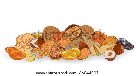 vector illustration nuts and dried fruits on a white background #660449071