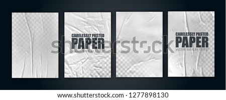 vector illustration object. badly glued white paper. crumpled poster. vector graphics can be applied to any objects with a blending mode for the effect of crumpled wet paper. set 1 of 4