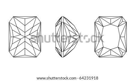 Vector  illustration  octagon shapes of a gemstone against white background. Wireframe