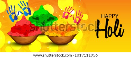 Vector illustration of a Abstract Background for Traditional Indian Festival  Holi Celebration. #1019111956