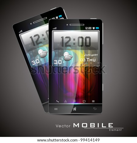 Vector illustration of a Android smart phone or mobile handset with large touchscreen feature.