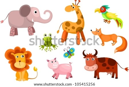 vector illustration of a animals set