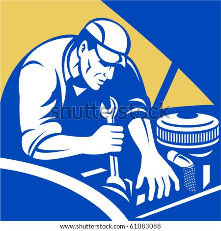 vector illustration of a Automobile car repair mechanic with spanner set inside a square format.