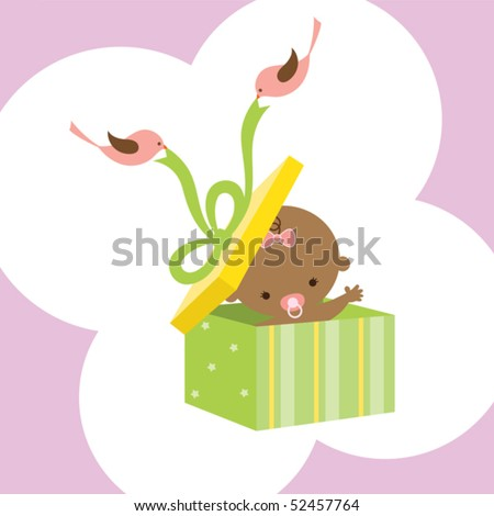 Vector illustration of a baby in a gift box with two birds holding ribbon.