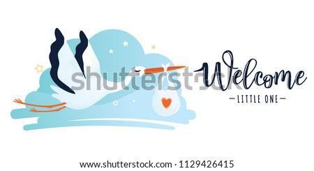 Vector illustration of a baby shower Invitation with stork. Stork carrying a baby in a bag. Can be used for cards, flyers, posters, t-shirts. Foto d'archivio ©
