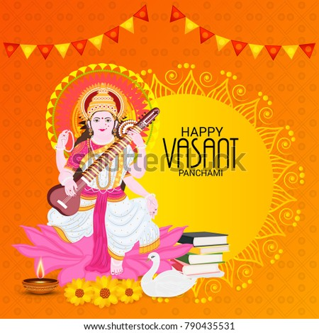 Vector illustration of a Background with instrument Veena for Happy Vasant Panchami Celebration. #790435531