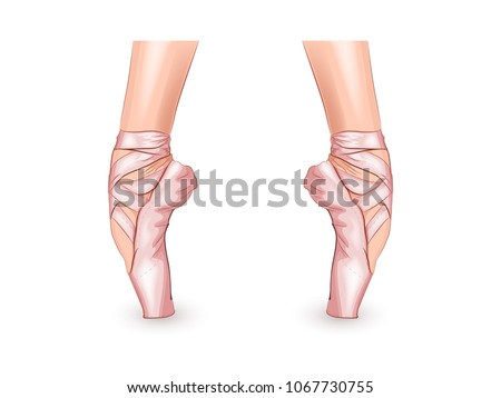 Stock Photo vector illustration of a ballerinas feet in Pointe shoes