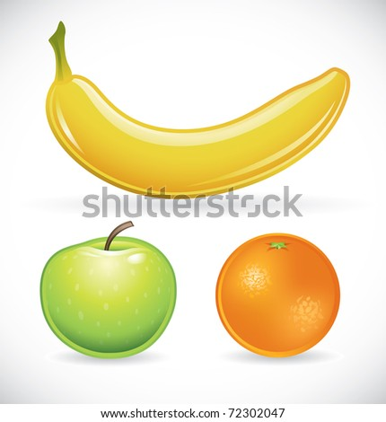 Vector illustration of a banana, an apple and an orange - stock vector