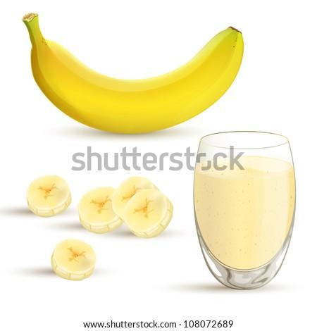 Vector illustration of a banana and a banana milkshake
