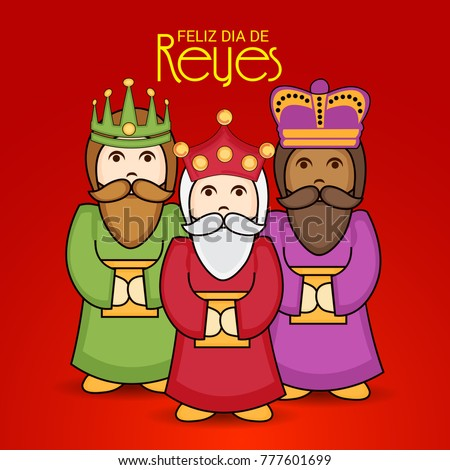 Vector illustration of a Banner for Happy Epiphany written in Spanish with Three Magic Kings.