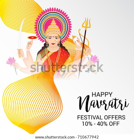 Vector illustration of a Banner for Happy Navratri with Maa Durga.