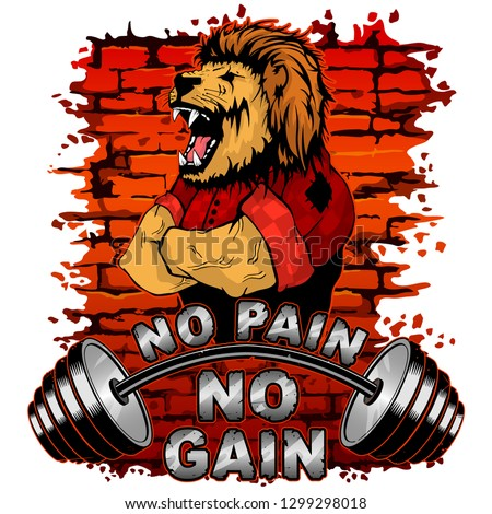 Vector illustration of a barbell and a strong lion on a brick wall background. No pain No gain