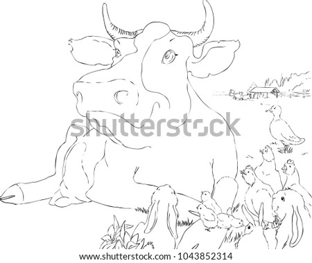Vector illustration of a barnyard
