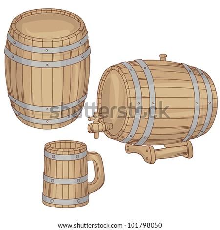 Vector illustration of a barrel, mug isolated on white.
