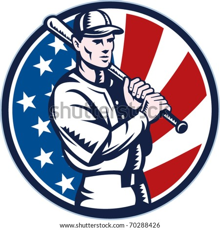 vector illustration of a Baseball player holding bat with american stars and stripes flag in background set inside circle done in retro woodcut style.