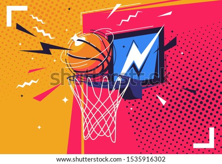 Vector illustration of a basketball flying into the ring, in the style of pop art