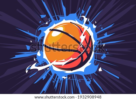 Vector illustration of a basketball on fire, with a dynamic dark background, a flaming basketball, energy around