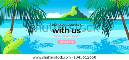 Vector illustration of a beach and a sea coast landscape. Creative banner or landing page for tour operator or travel agency. Summer theme background.