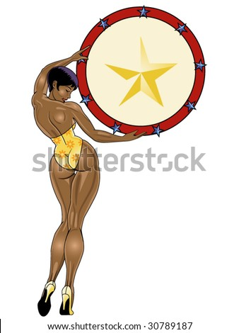 vector illustration of a beautiful african american pinup holding a target
