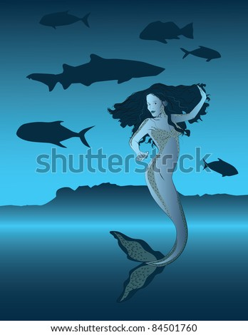 Vector illustration of a beautiful blue mermaid in a seascape.