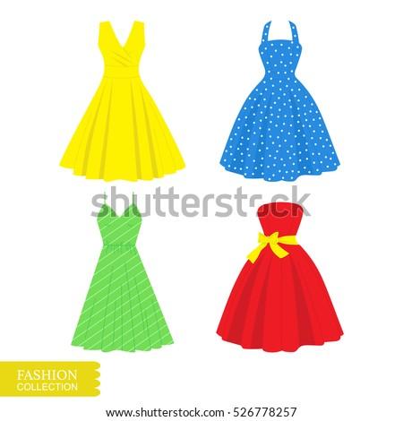 Vector illustration of a beautiful dress. Flat dress icon. Set of vintage dresses.