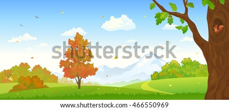 Vector illustration of a beautiful fall forest with a cute squirrel inside oak hollow, panoramic landscape banner